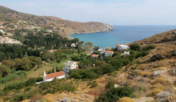 Paysage de l'île d'Andros, dans les Cyclades