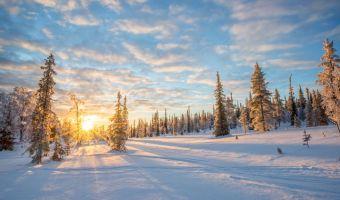 Coucher de soleil en Laponie : Saariselkä