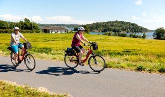 Cyclistes dans le fjord d'Oslo, Norvège