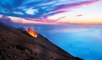 Éruption sur l'île de Stromboli, Éoliennes