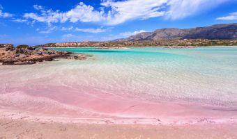 Plage de sable rose d'Elafonissi en Crète