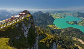 Vue sur le lac de Mondsee depuis le Schafberg, Autriche