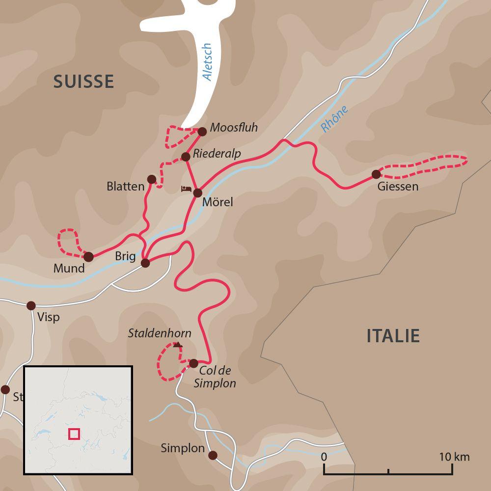 Carte du voyage Remise en forme à Aletsch