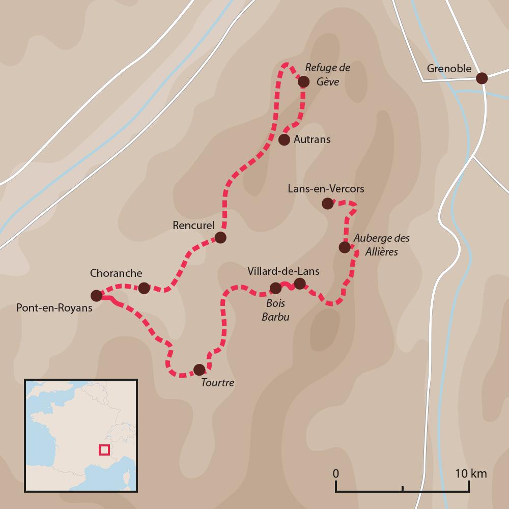 Carte du voyage Tour du Vercors