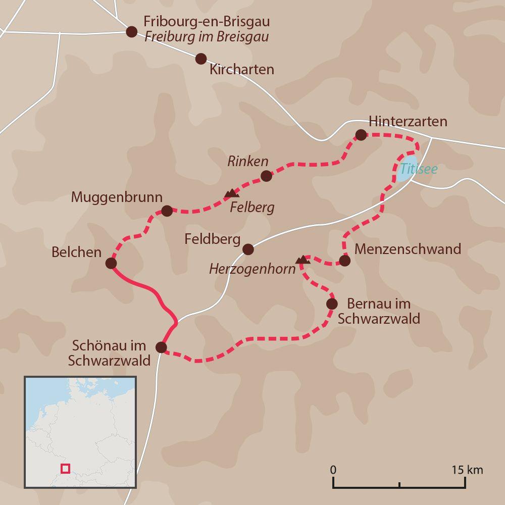 Carte du Tour de la Haute Forêt-Noire