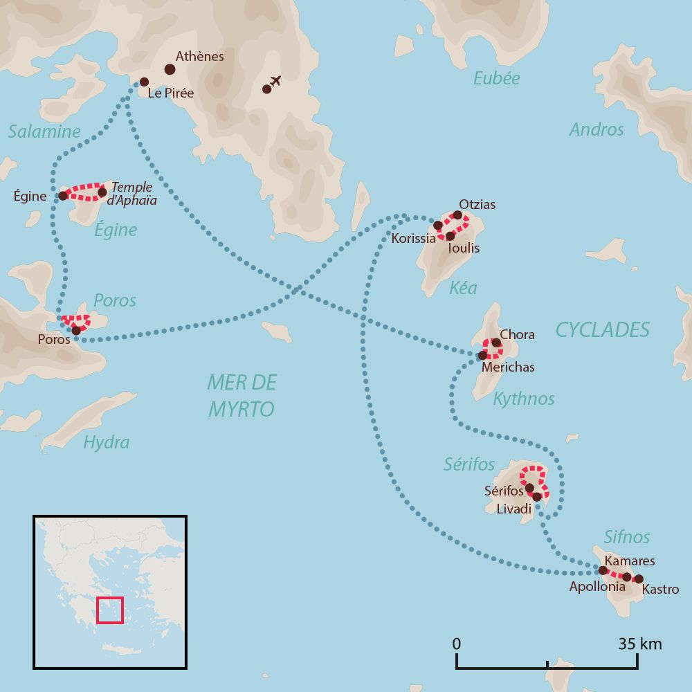 Carte : Vélo et Bateau dans les Cyclades