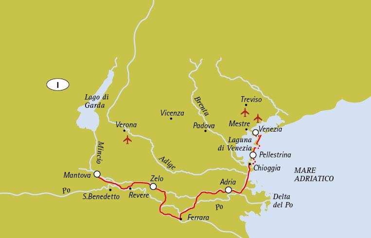 Carte itinéraire vélo de mantoue à venise le long du po