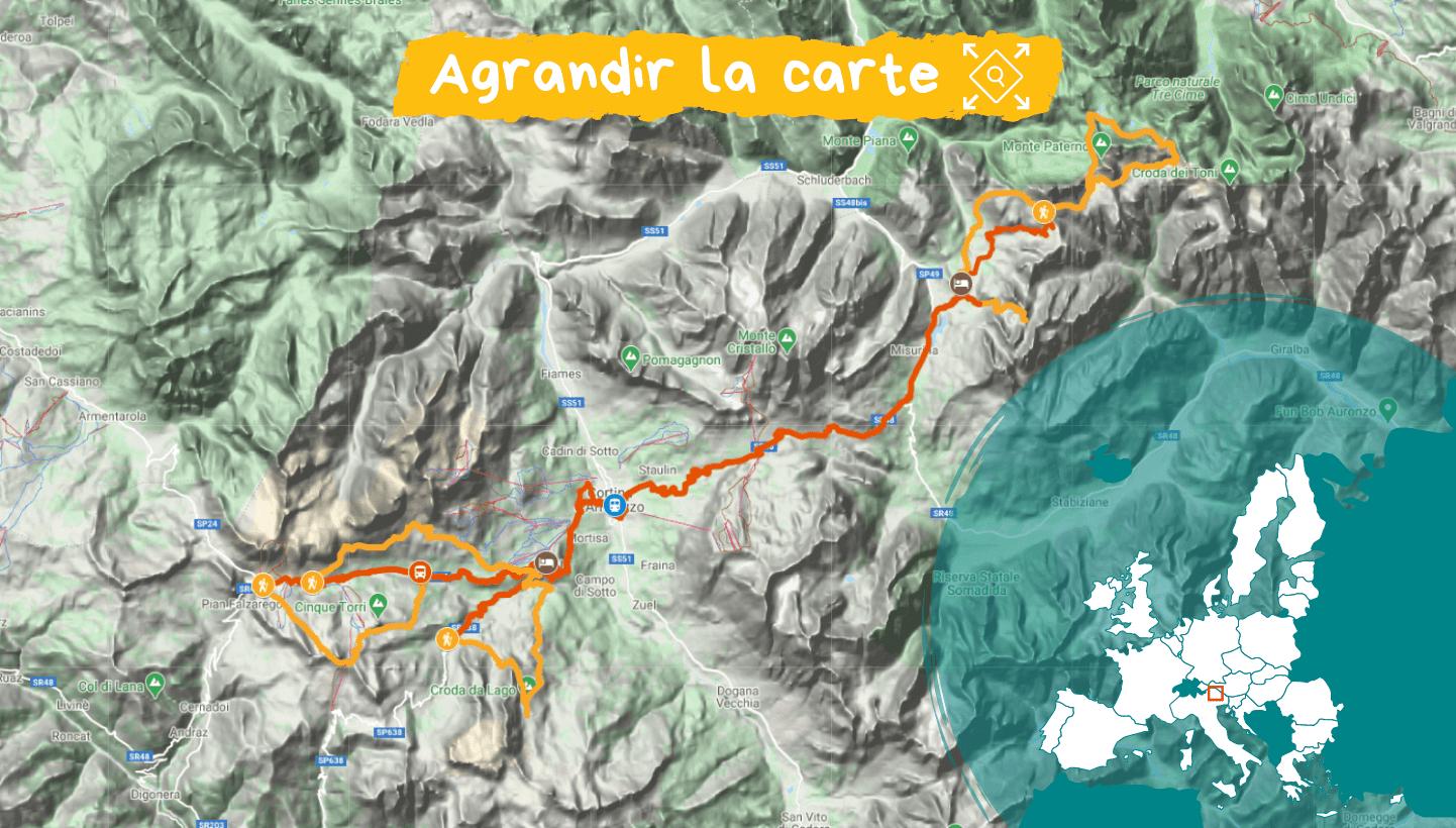Carte Dolomites de Cortina