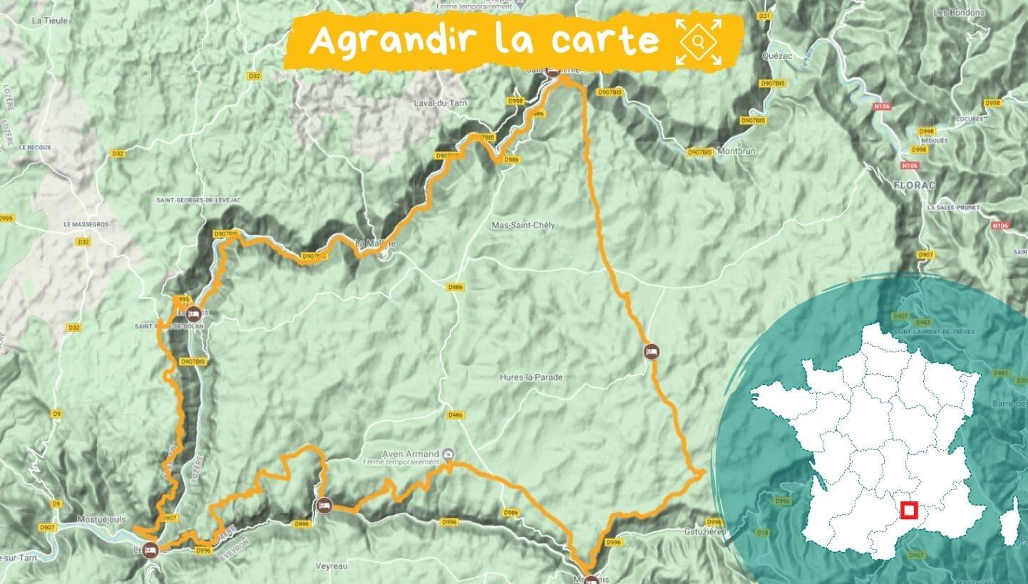 Itinéraire séjour Gorges du Tarn et de la Jonte