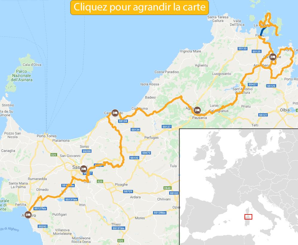 Carte itinéraire vélo nord de la sardaigne et costa esmeralda