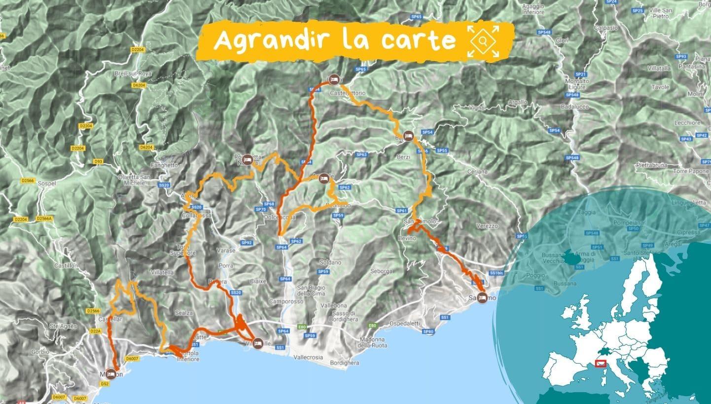 Itinéraire la Ligurie, de Menton à San Remo