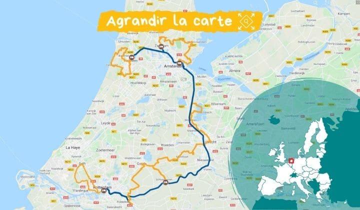 Itinéraire de la Route du sud de la Hollande à vélo et bateau