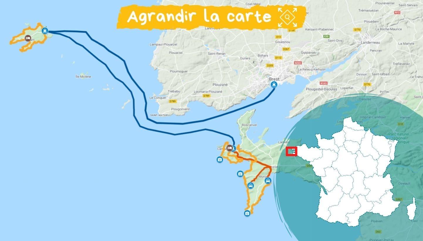 Itinéraire séjour Presqu'île de Crozon et Ouessant