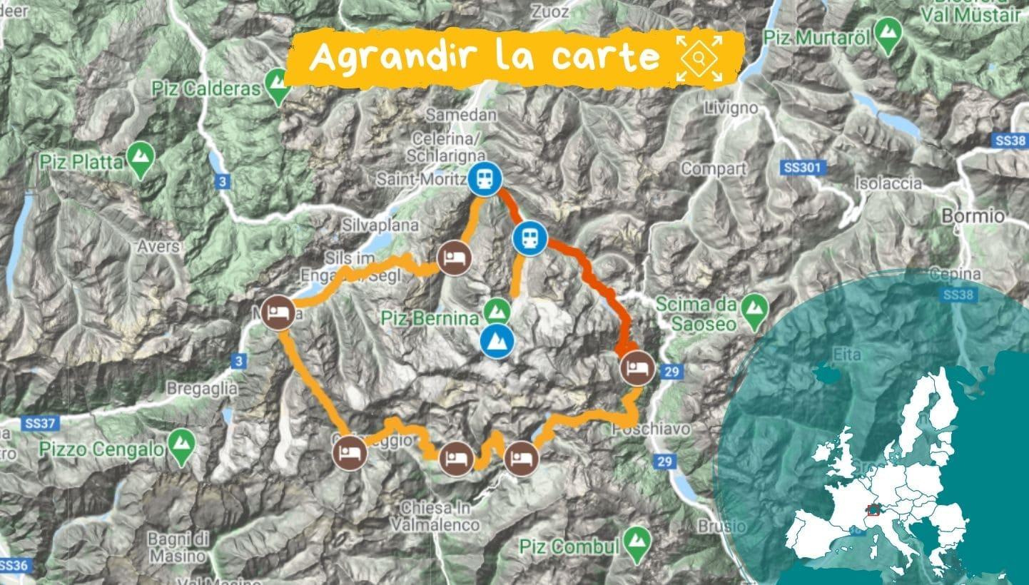 Carte Tour de l'Engadine et de la Bernina