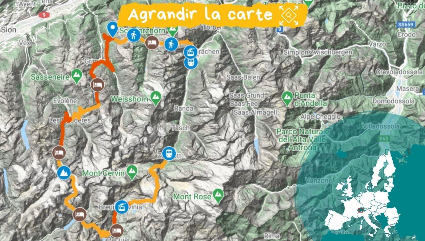 Carte Tour du Cervin
