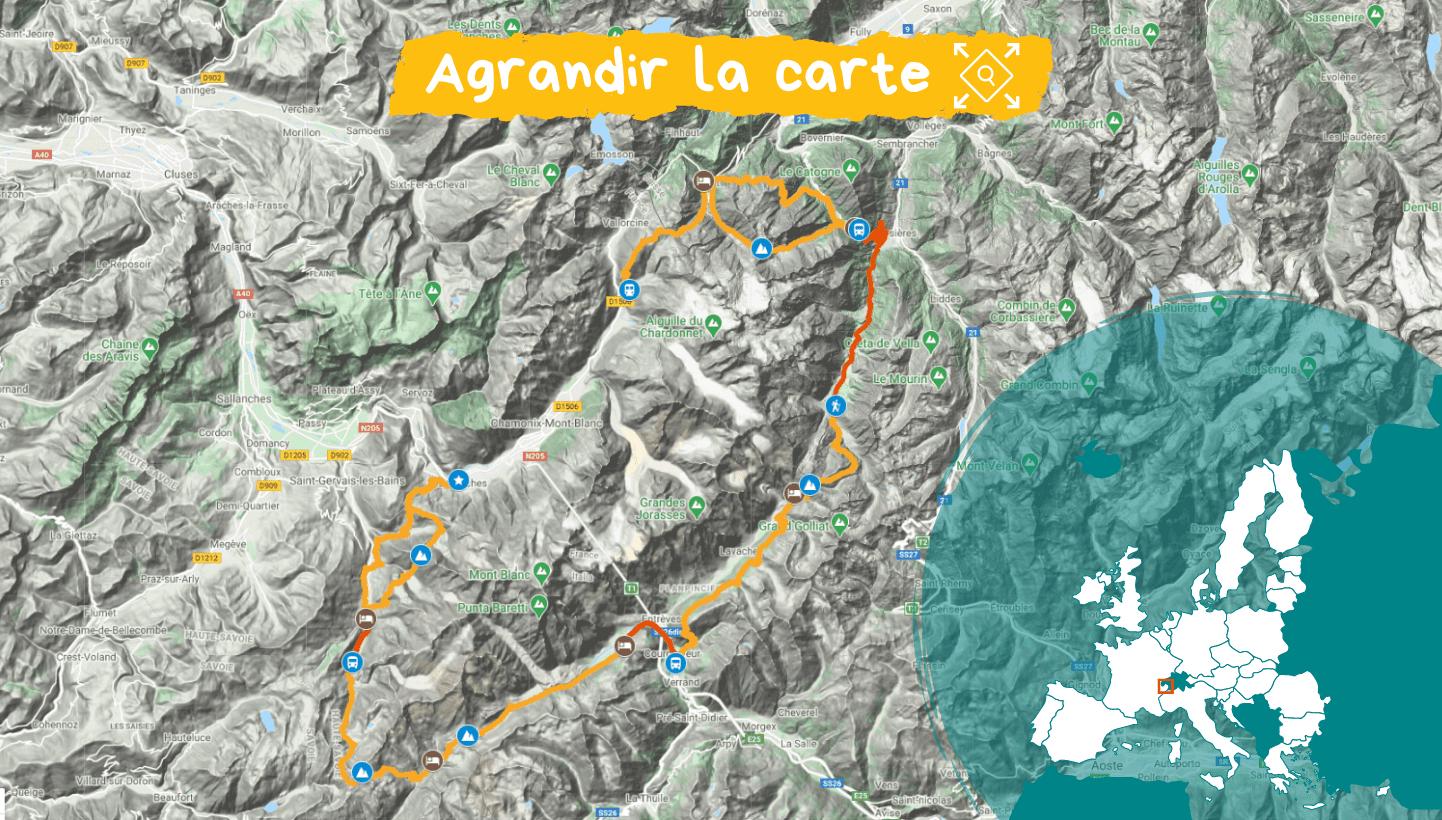 Carte Tour du Mont Blanc, le classique