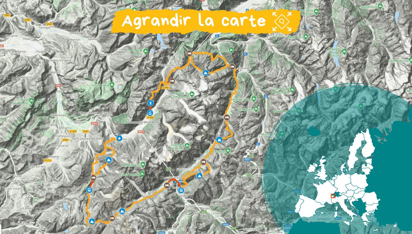 Carte Tour du Mont Blanc, l'intégrale