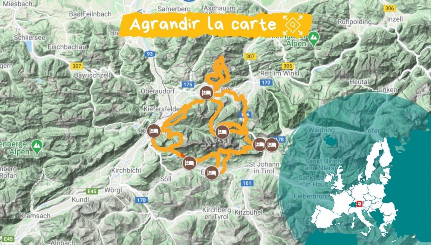 Carte Tyrol : le tour du Kaisergebirge