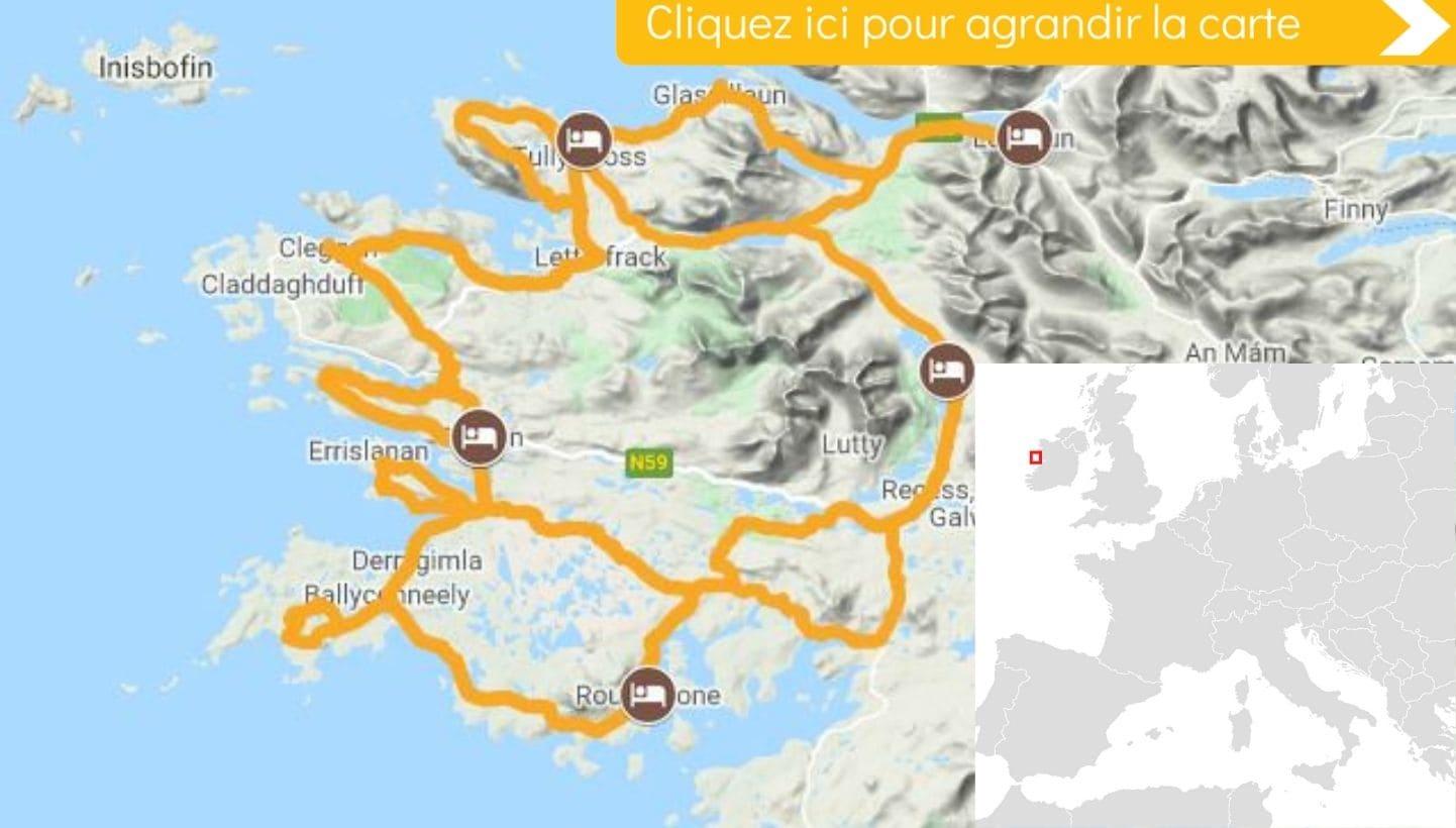 Carte itinéraire vélo Les Beautés du Connemara