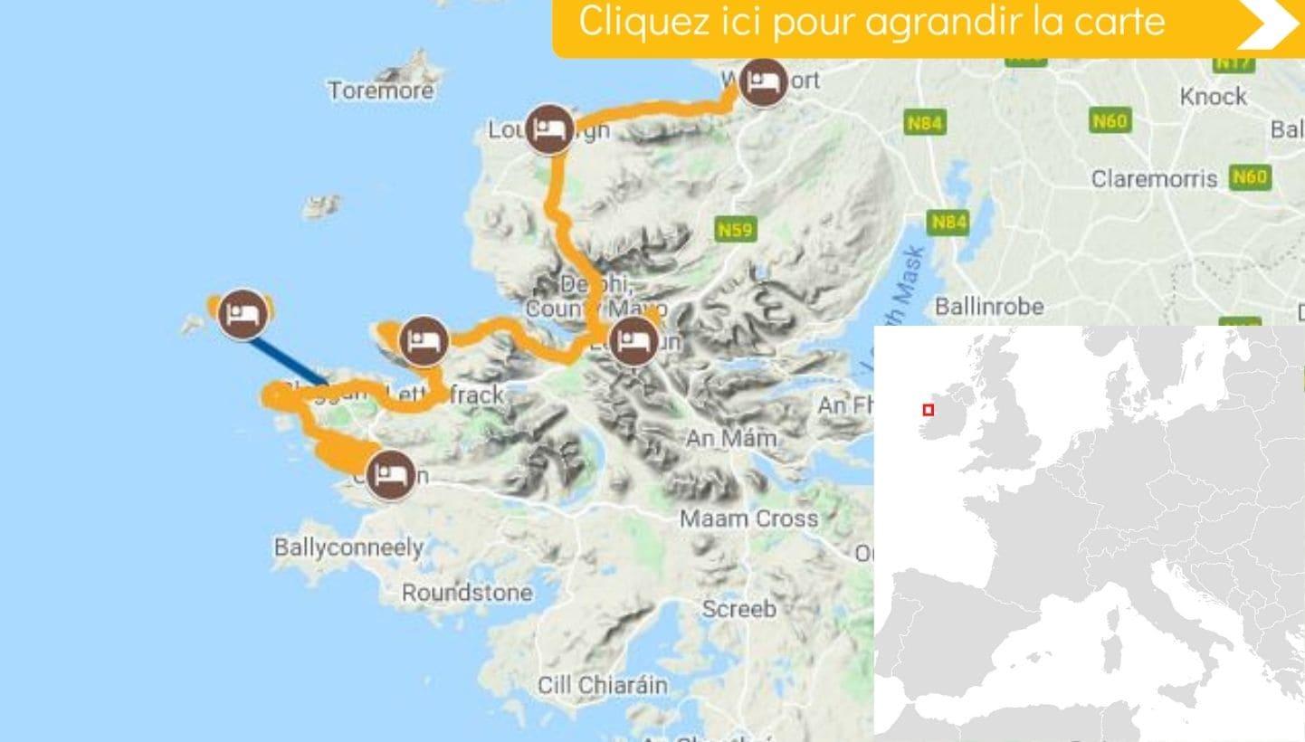 Carte itinéraire vélo Irlande Wild Atlantic Way