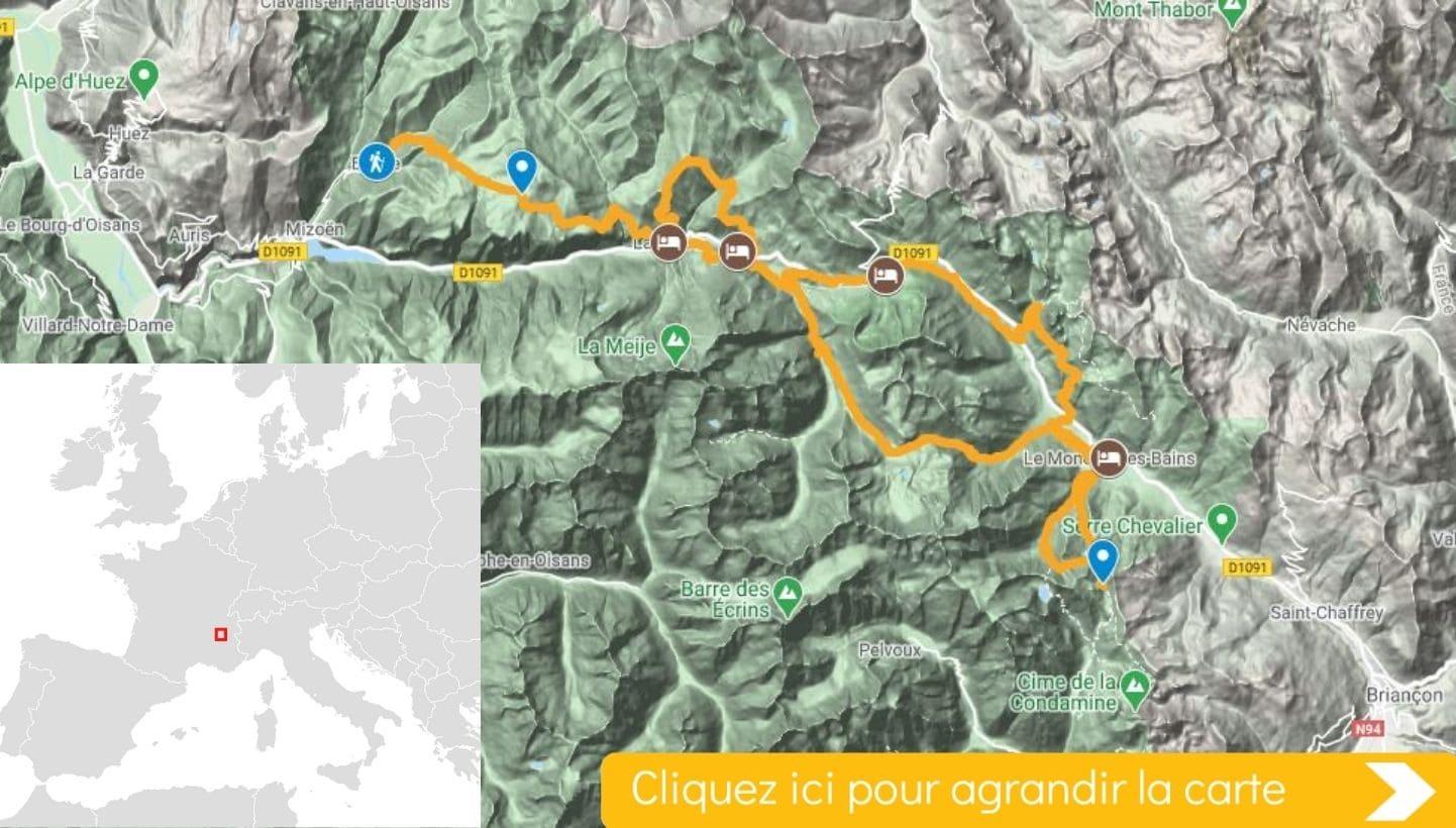 Carte itinéraire Balcons et Villages de l'Oisans
