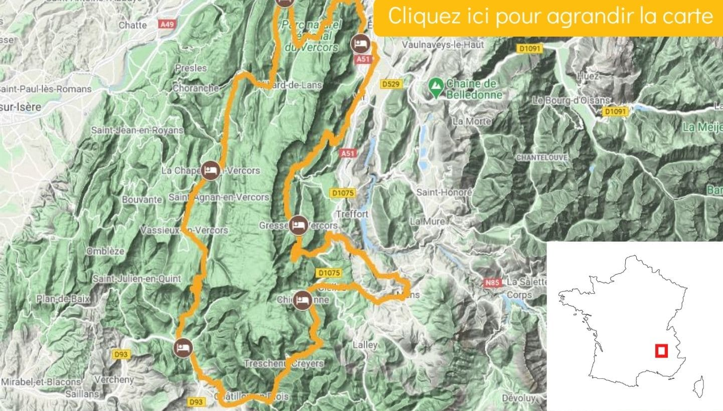 Carte itinéraire grand tour du vercors