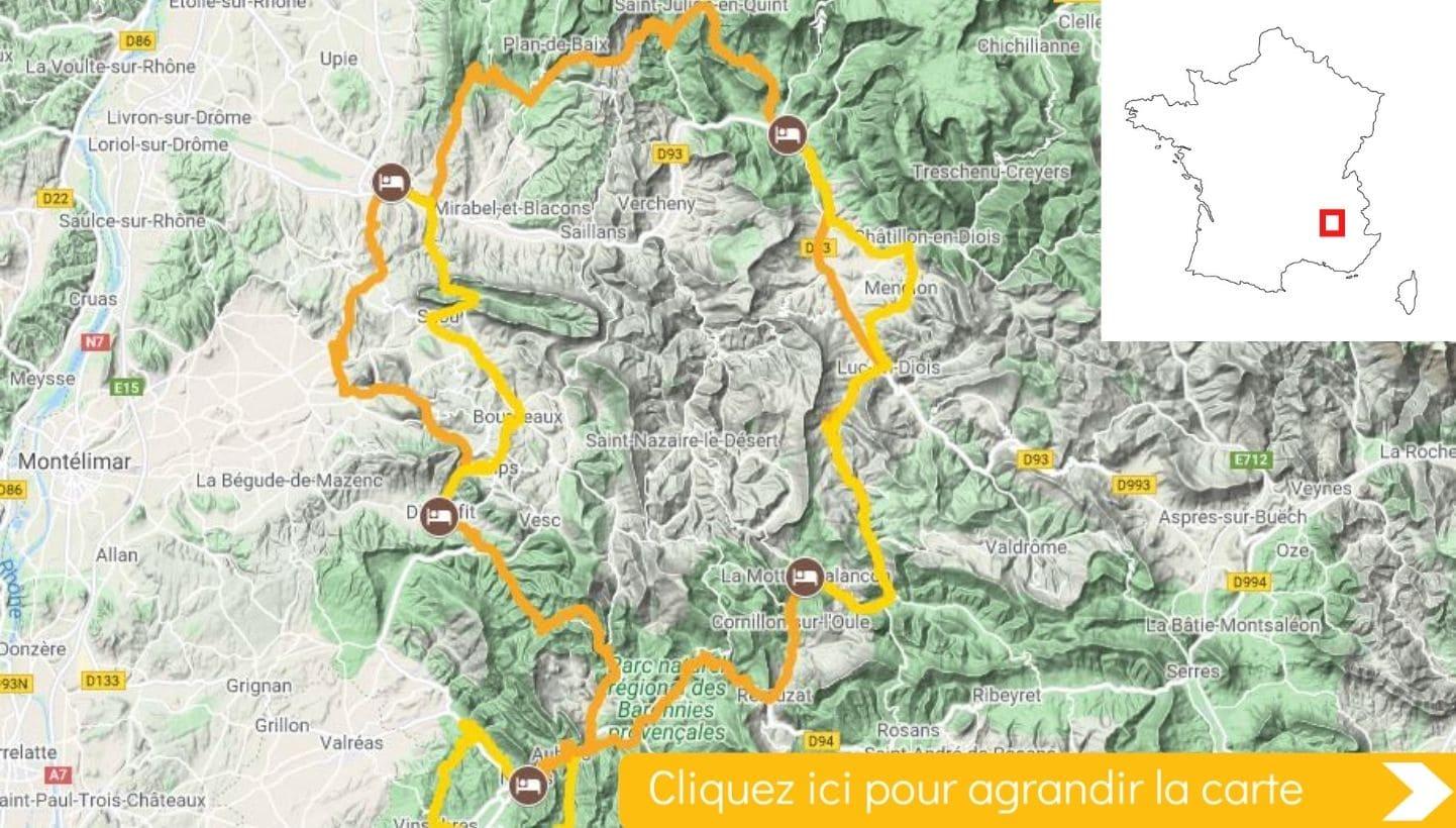 Carte itinéraire vélo La Drôme provençale