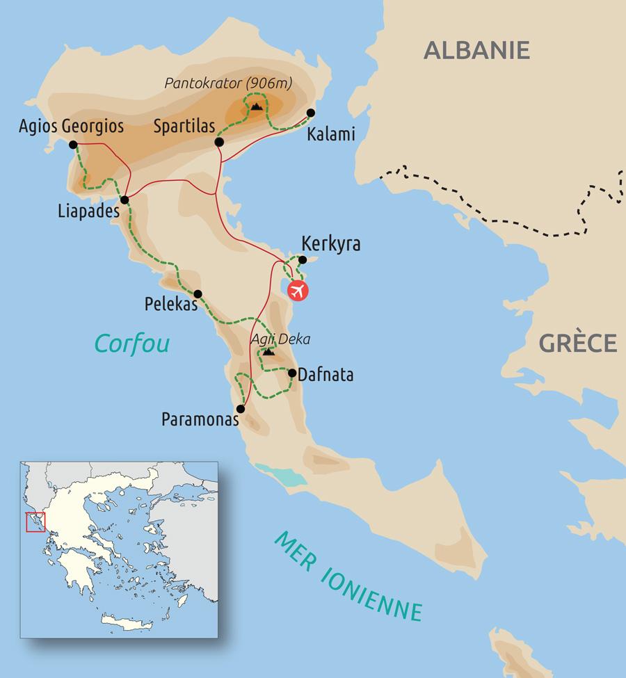 Carte de La Grande traversée de Corfou