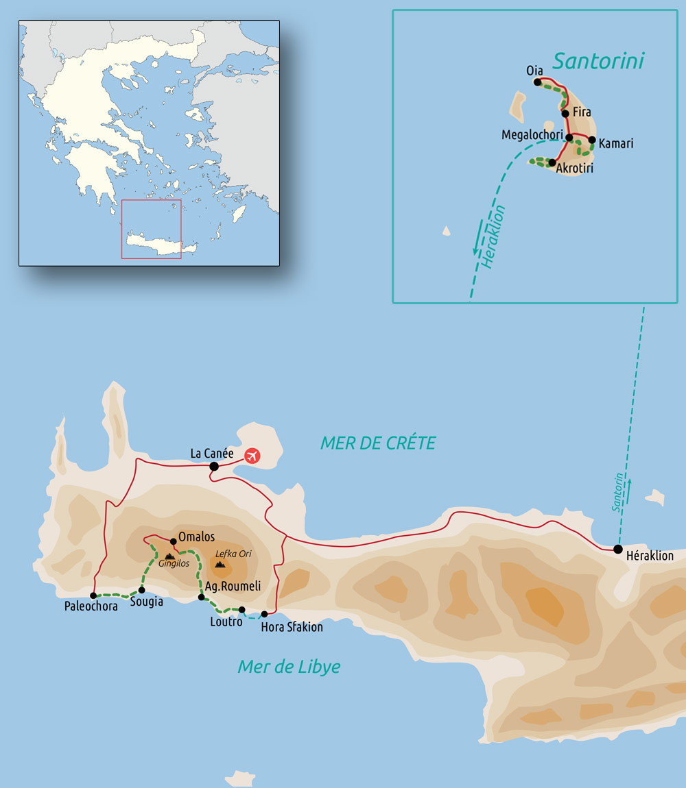 Carte Crète et Santorin, balade minoenne