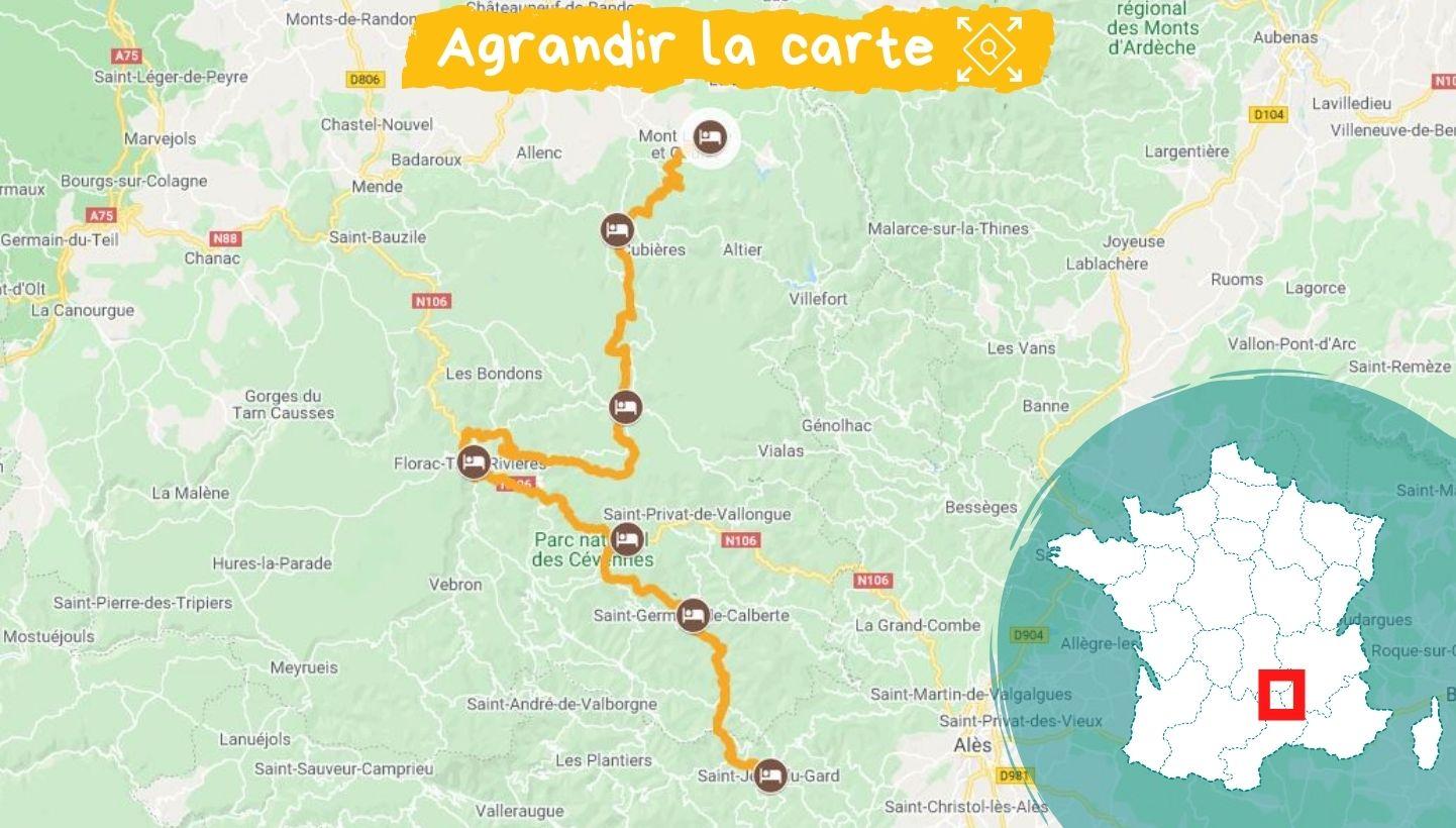 itinéraire chemin stevenson sud