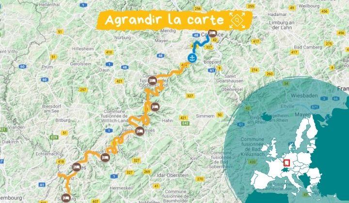 Itinéraire de Coblence à Sarrebourg à vélo et bateau à bord du MS Patria