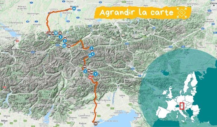 Itinéraire De Munich à Venise, par les Tre Cime di Lavaredo