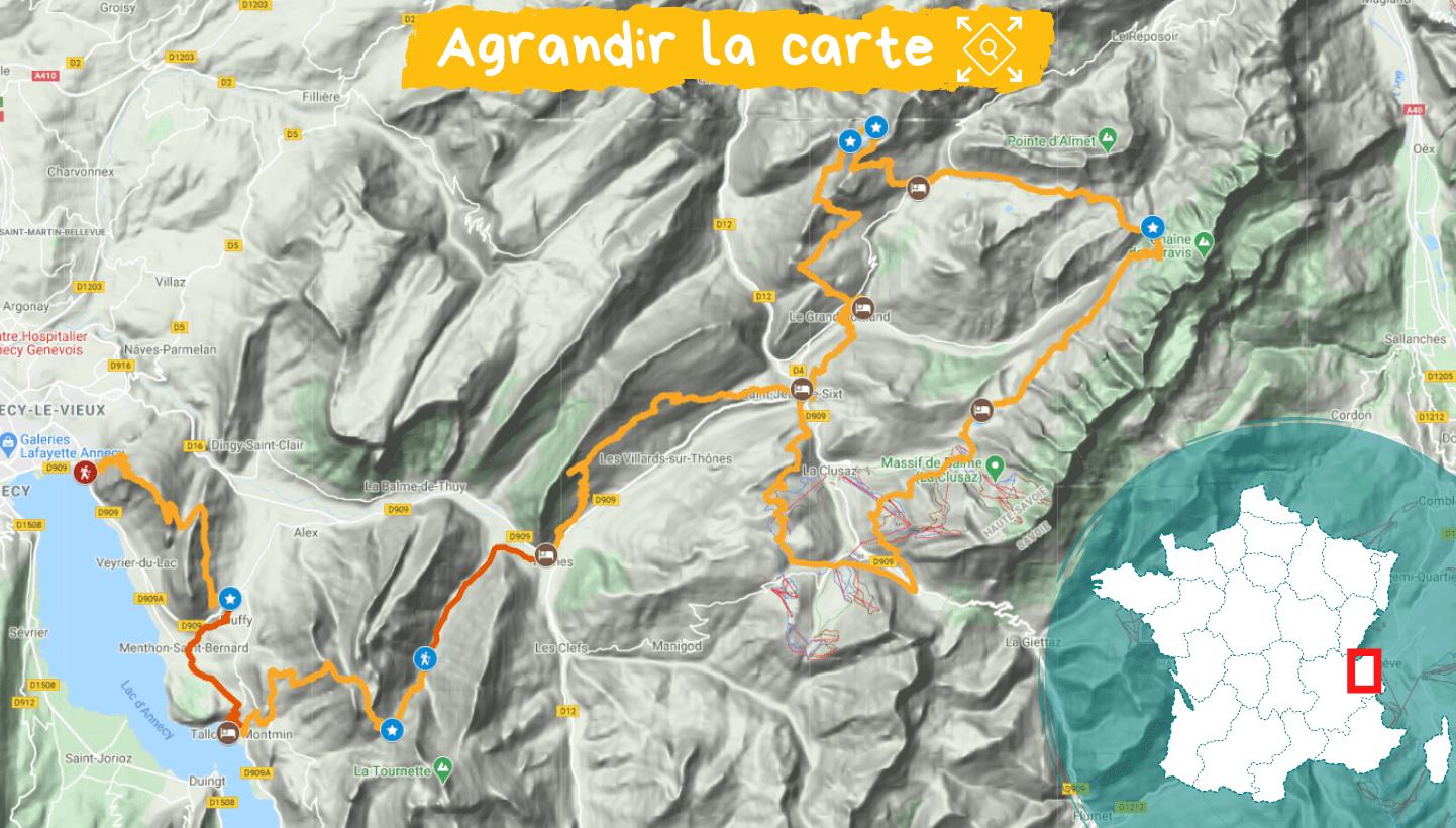 Itinéraire des Aravis au lac d'Annecy