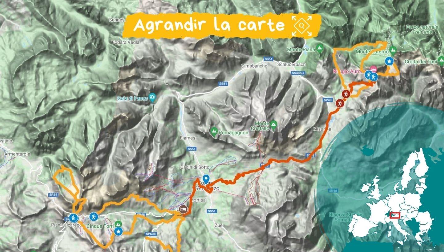 itinéraire dolomites de Cortina