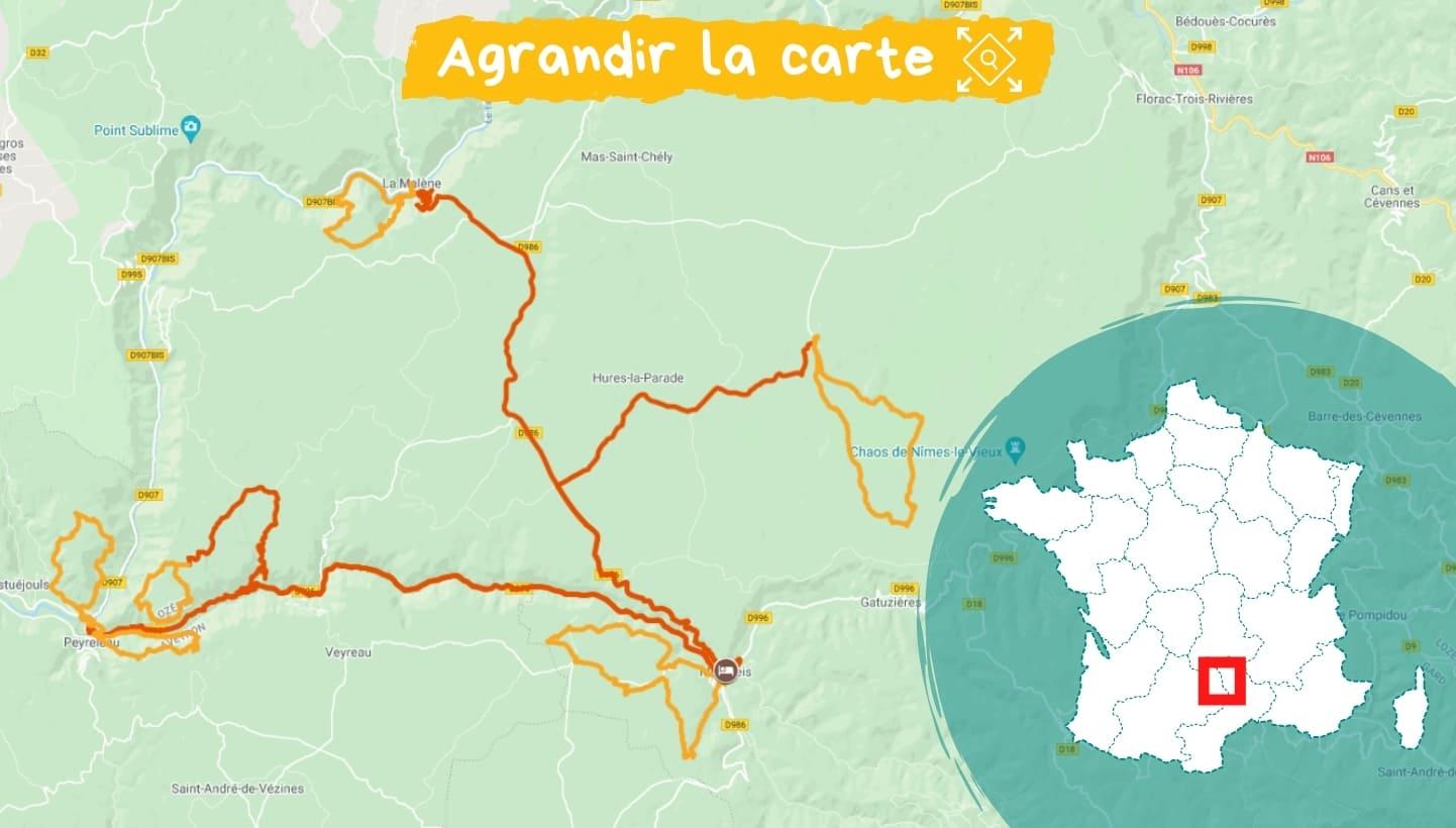 Itinéraire Gorges du Tarn et de la Jonte