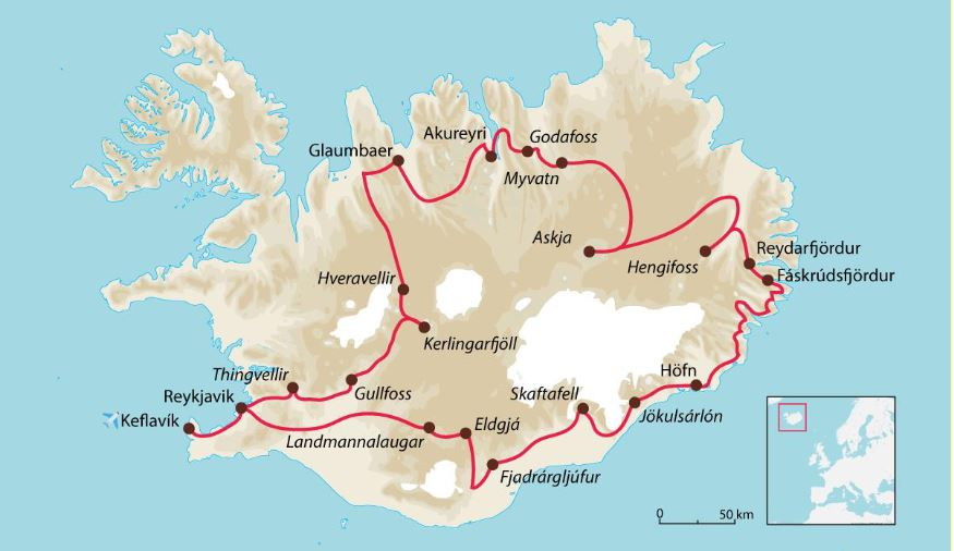 Itinéraire grande boucle de l'Islande