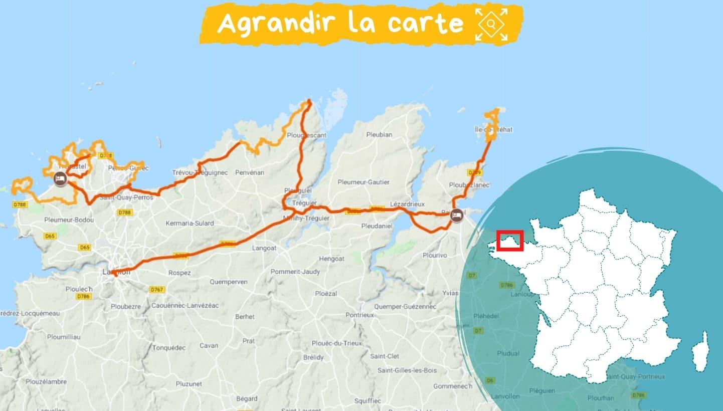 Itinéraire la côte de Granit Rose