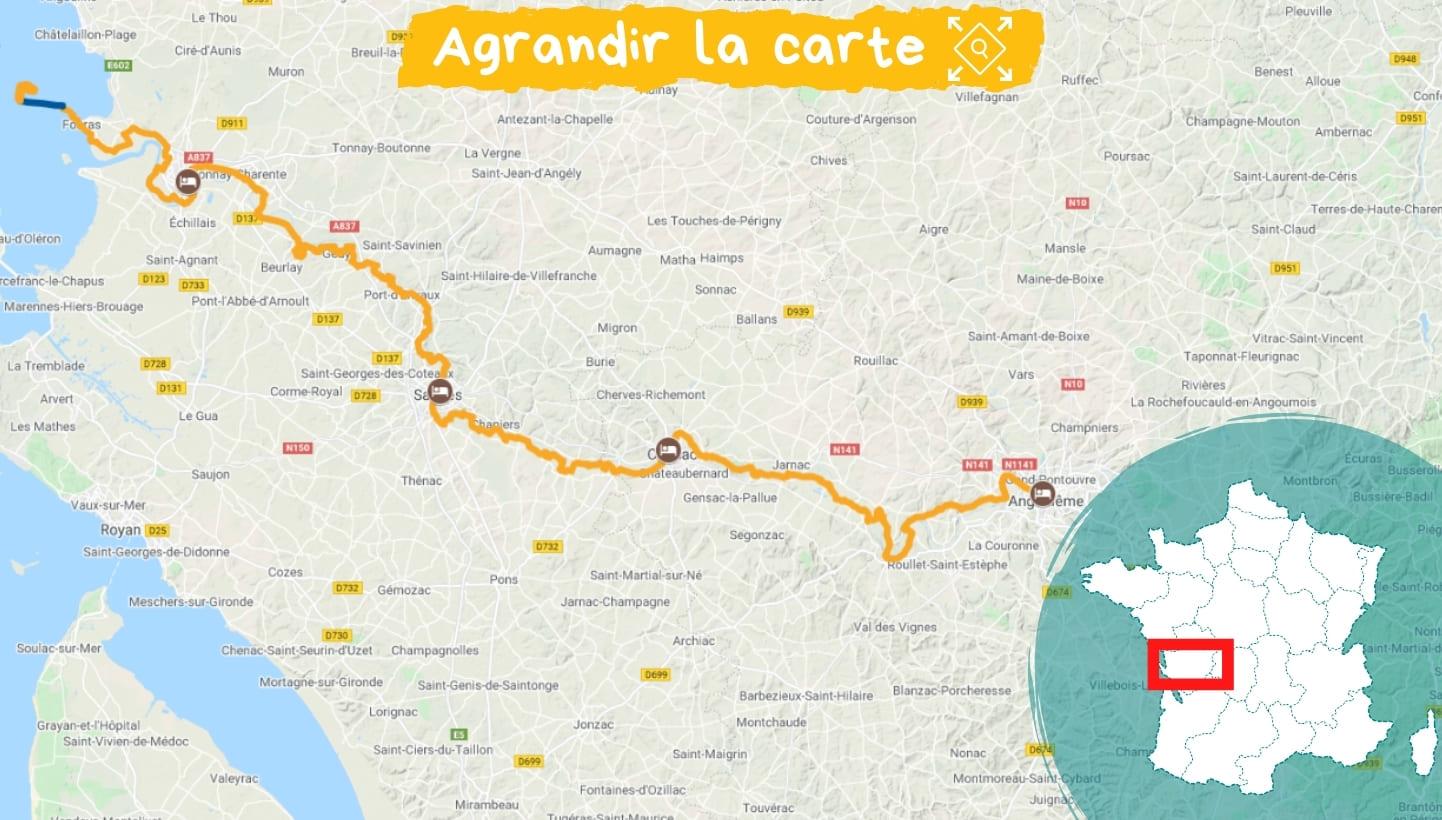 Itinéraire La Flow Vélo, d'Angoulême à Rochefort