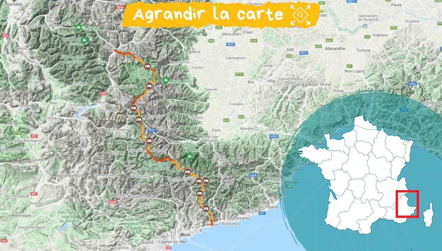 Itinéraire la Grande Traversée des Alpes de Briançon à Menton