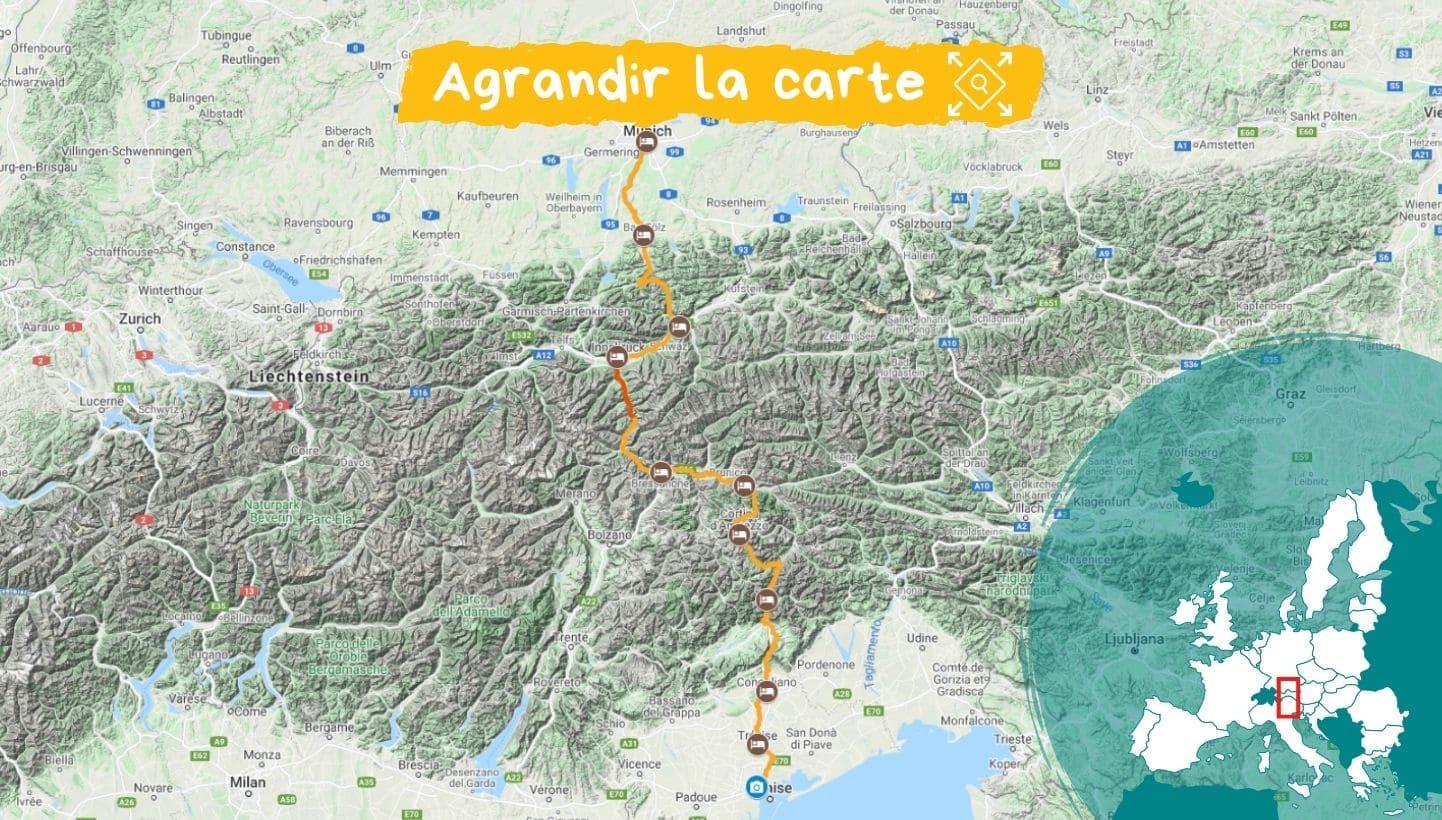Itinéraire la traversée des Alpes à vélo de Munich à Venise