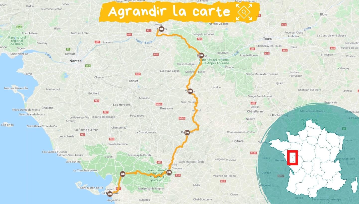 Itinéraire la Vélo Francette d'Angers à la Rochette