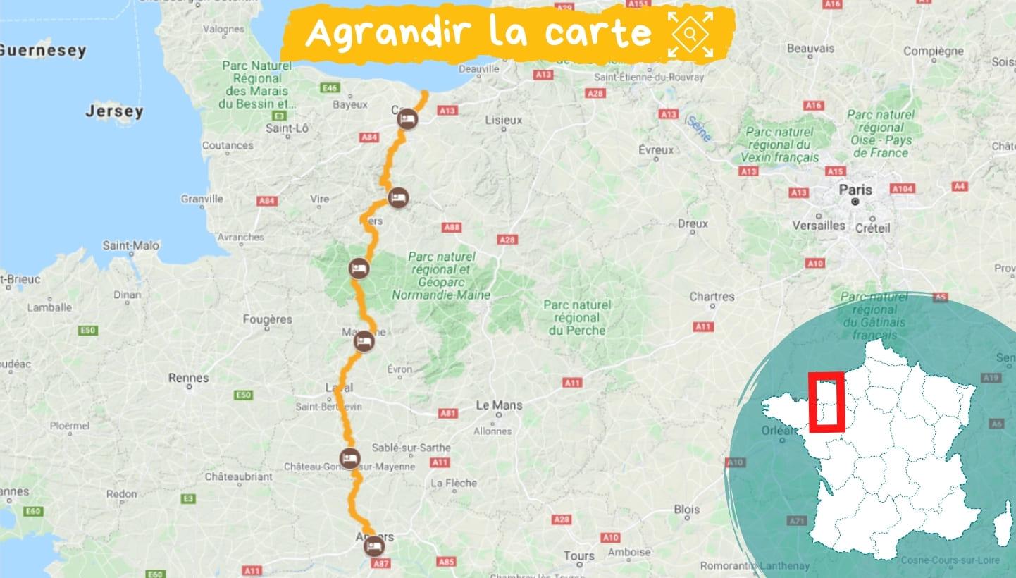 Itinéraire La Vélo Francette de Caen à Angers