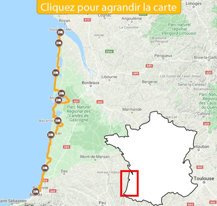 Itinéraire La Vélodyssée, de l'estuaire de la Gironde à Biarritz
