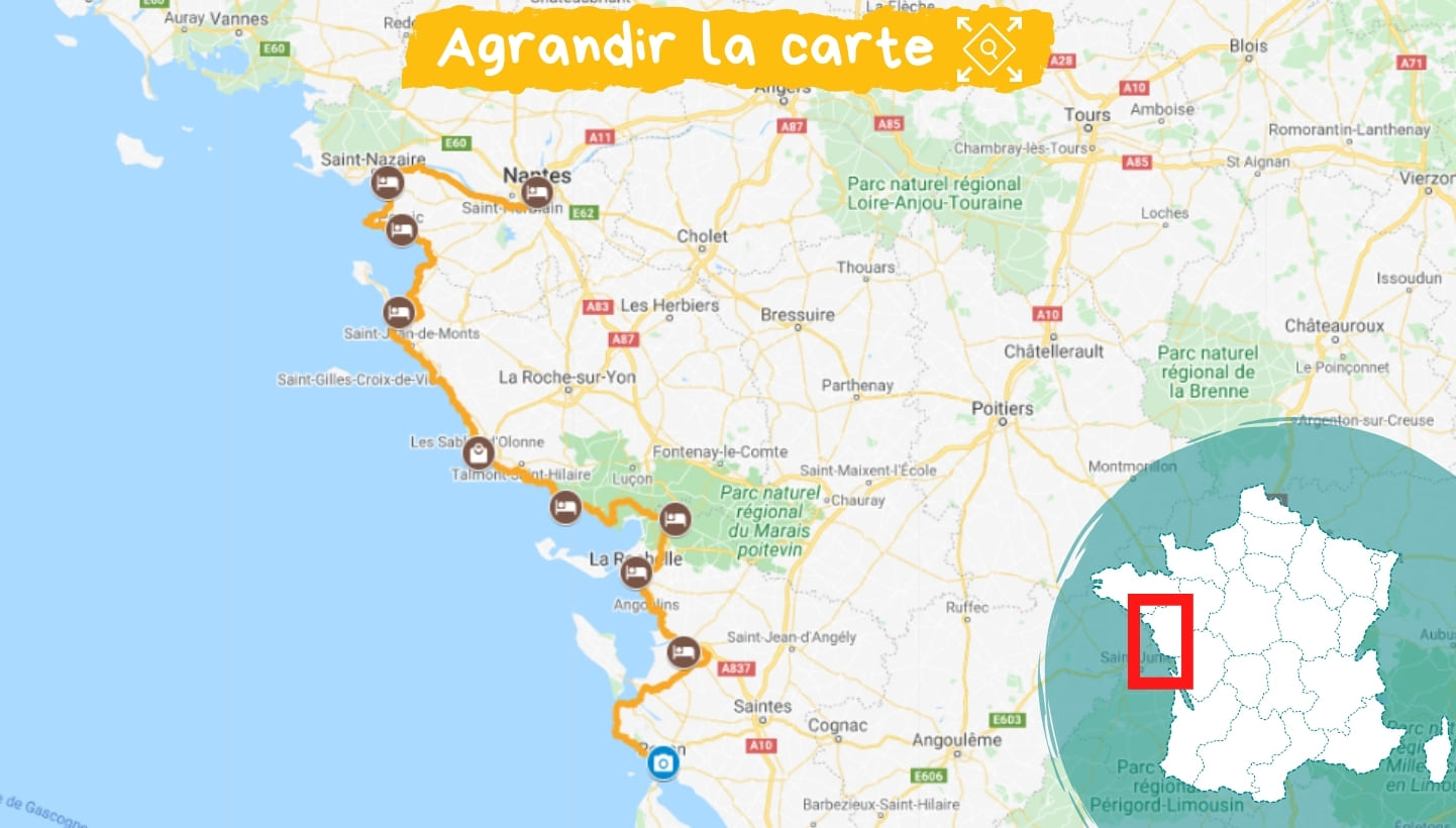 Itinéraire La Vélodyssée, de Nantes à Royan