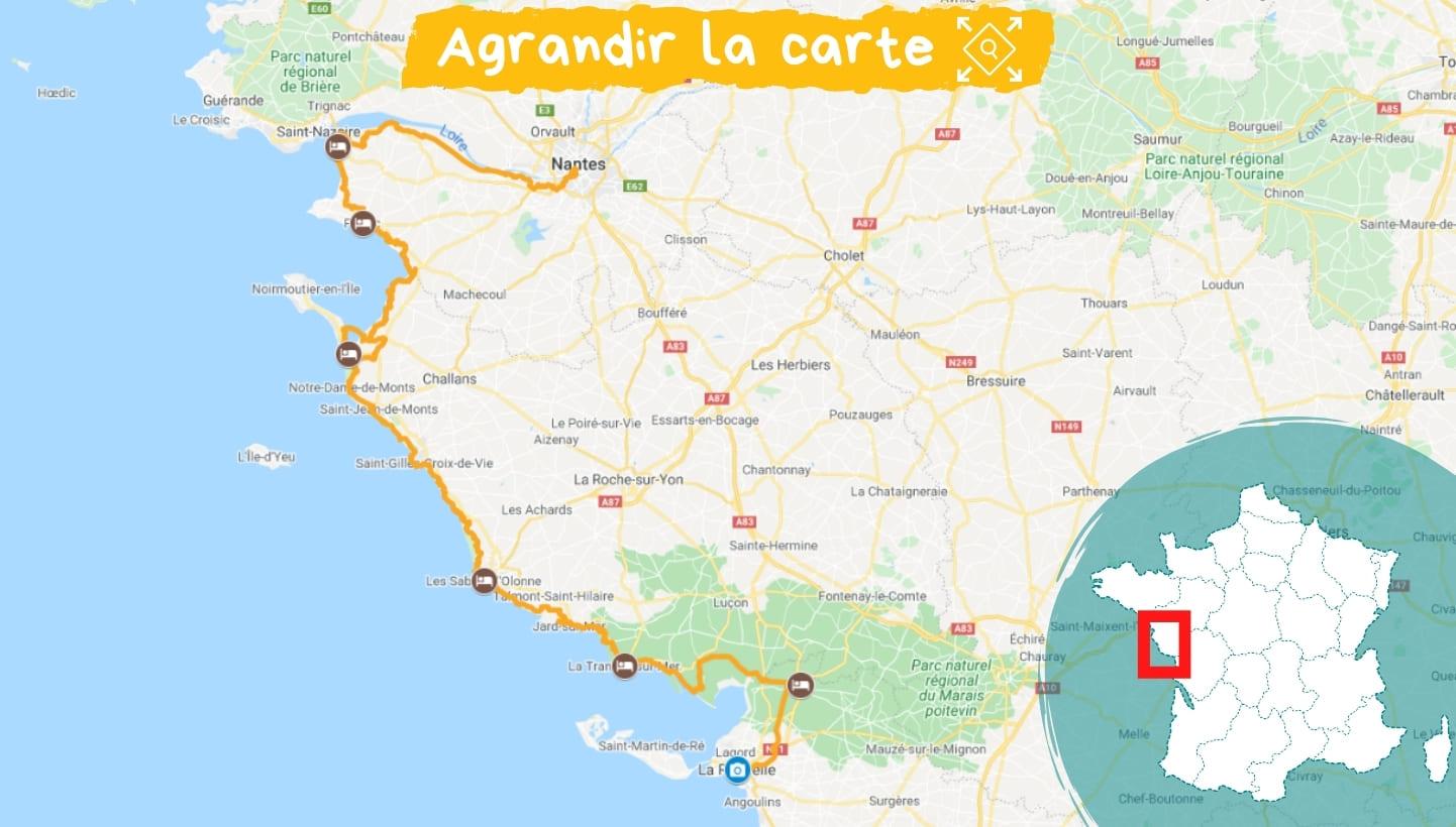 Itinéraire la Vélodyssée, de Saint-Brévin-les-Pins à La Rochelle