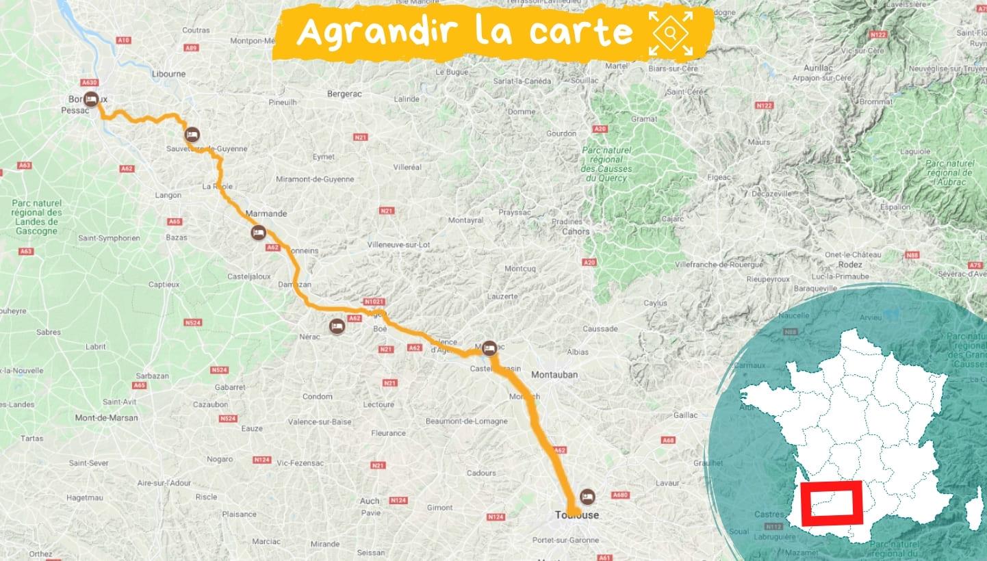 Itinéraire le Canal de la Garonne de Bordeaux à Toulouse