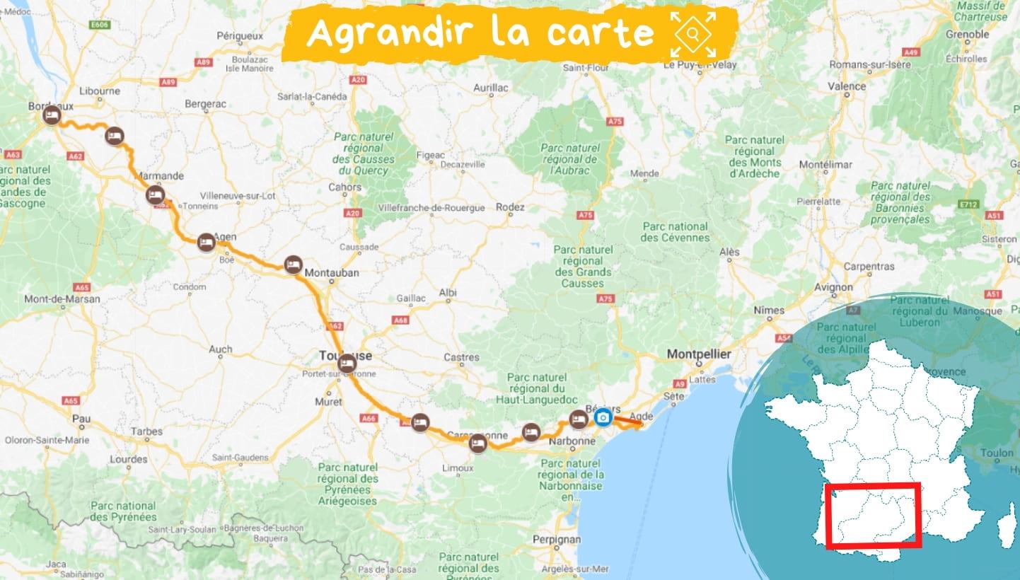 Itinéraire Le Canal des Deux-Mers de Bordeaux à la mer