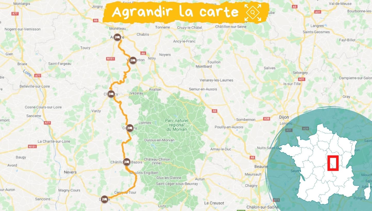 Itinéraire le Canal du Nivernais