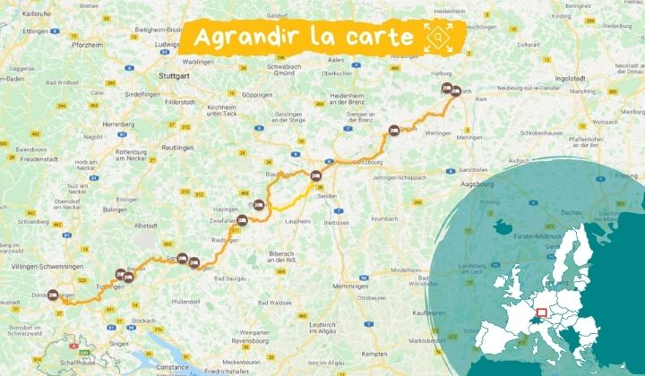 Itinéraire Le Danube à vélo, de sa source à la Bavière