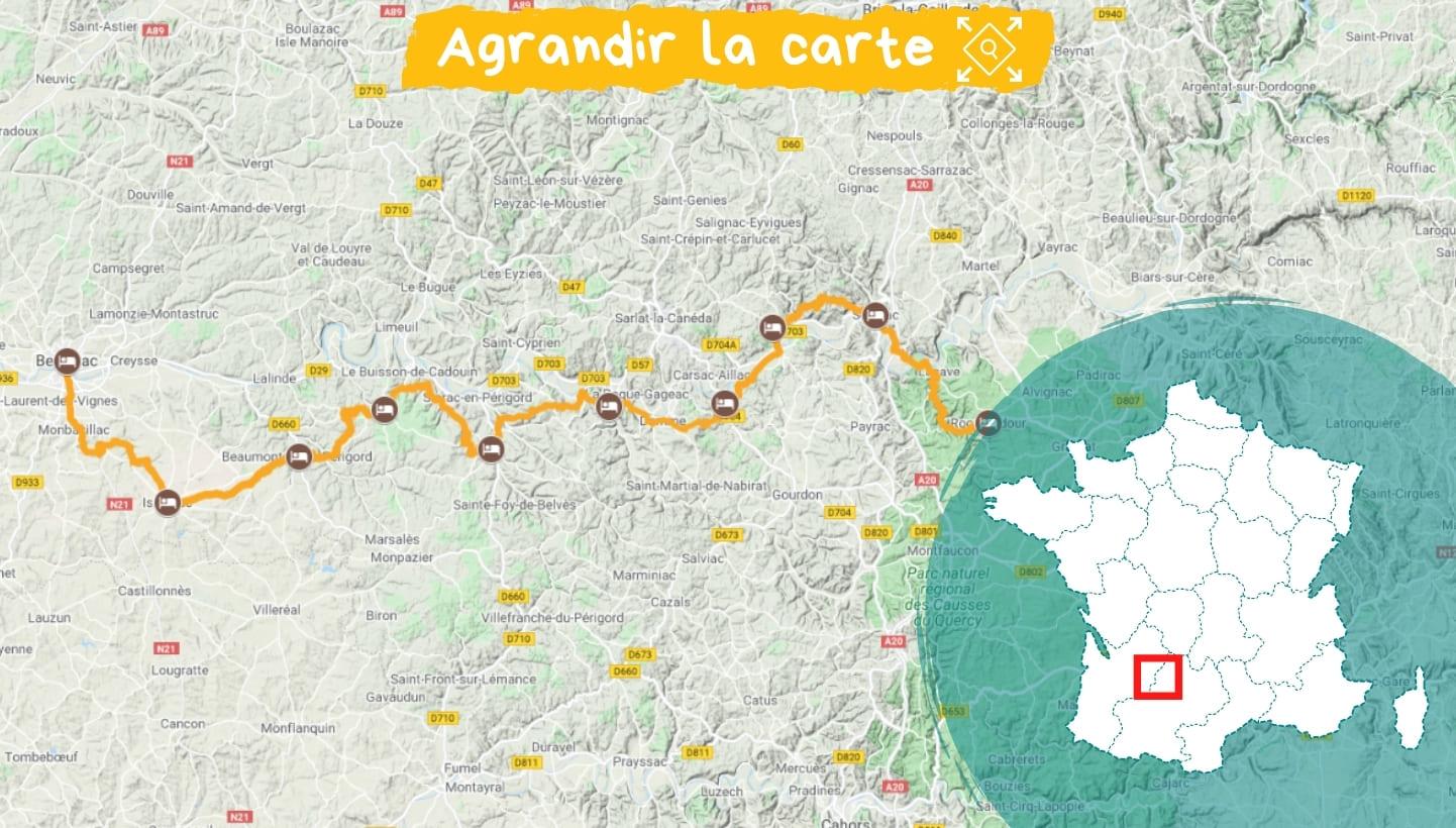 Itinéraire Le Périgord, de Bergerac à Rocamadour
